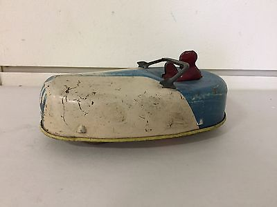 Vintage Rare 30's General Toy Products Tin Blue & White Bumper Wind-Up Toy Car