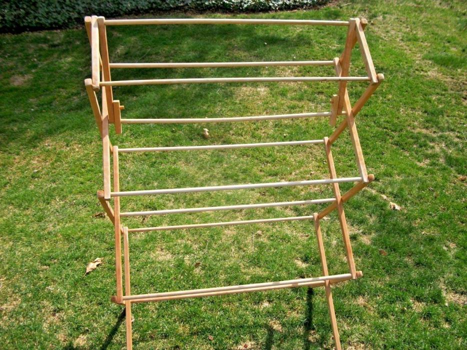 Vintage Primitive Rustic Standing Wood Folding Clothes Drying Rack
