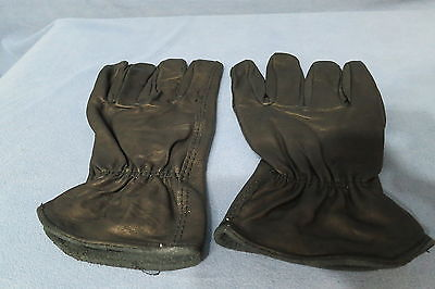Men's Black Calf Skin Leather Gloves w Cinched Wrists Size Medium NEW