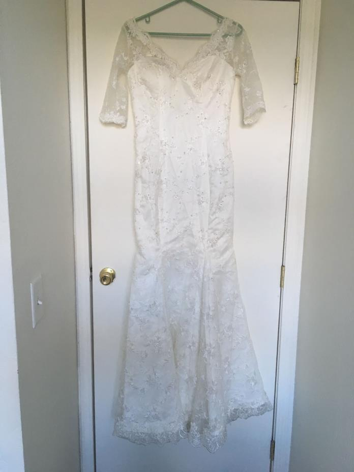 White Wedding Dress Embellished with Embroidery and Sequins Size S