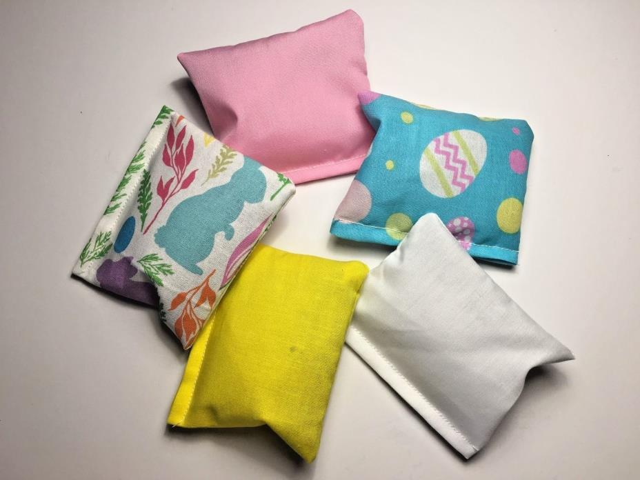 Crinkle Pillows with Catnip LOT OF 5 - SPRING EASTER BUNNY Cat Kitten Toy Kicker