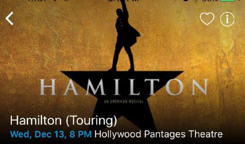 HAMILTON  TICKETS PANTAGES THEATRE 12/13/2017