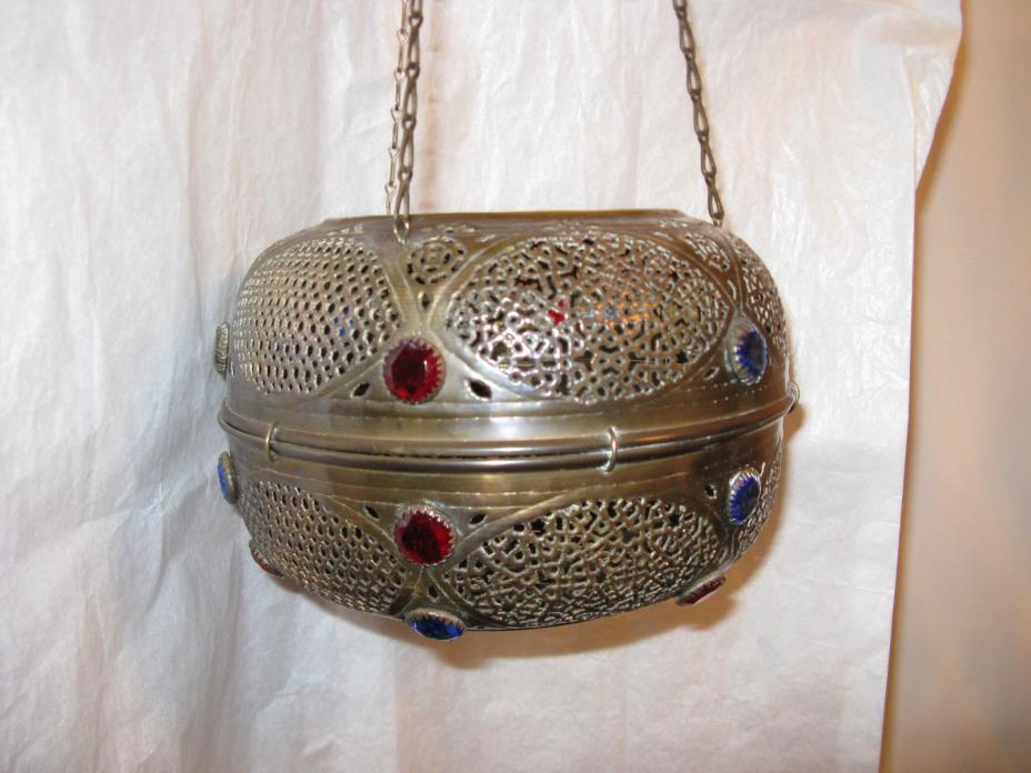 Antique Lantern, handcrafted brass lantern with beads.