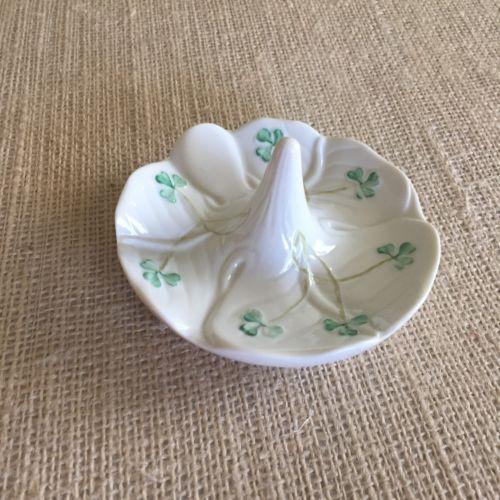 Belleek Shamrock Ring Holder Green and White Irish Collectible China