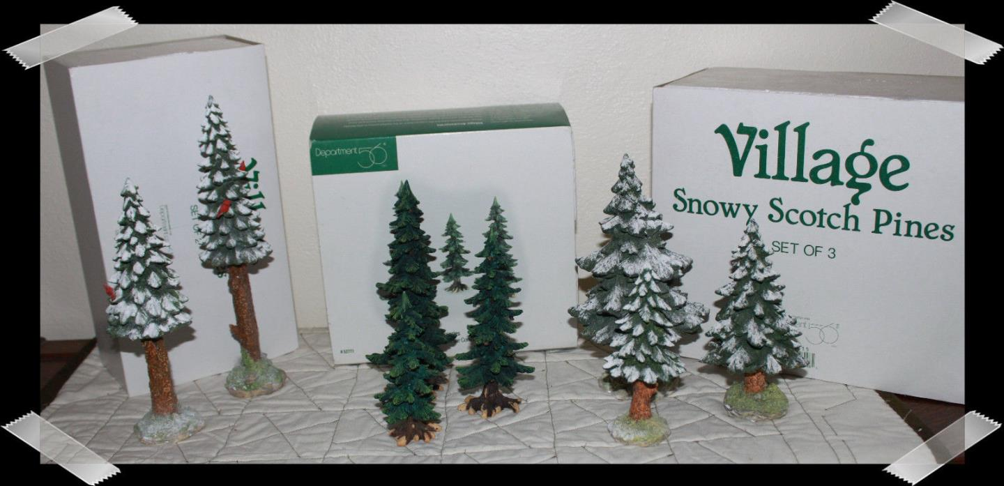 Dept. 56 Village Towering Pines, Snowy Scotch Pines, & Pine trees w/ pine cones