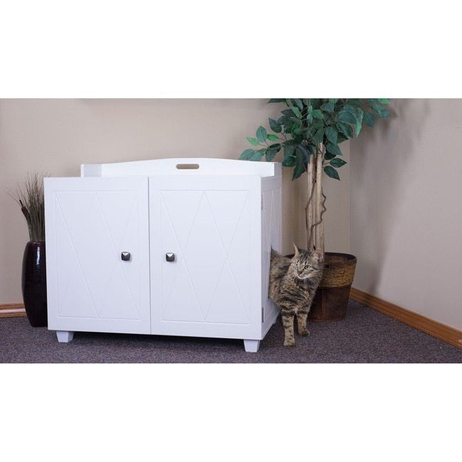 White Cat Litter Box Hidden Enclosed