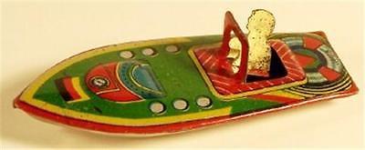 Vintage Pre-War Japan Tin Penny Toy Boat-German Flag