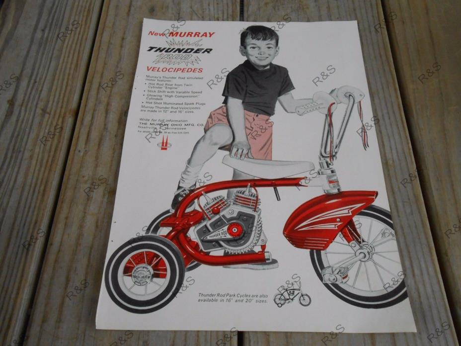 VINTAGE PRINT  AD 8 X 11 from 1964 Murray THUNDER ROD  Tricycle motor