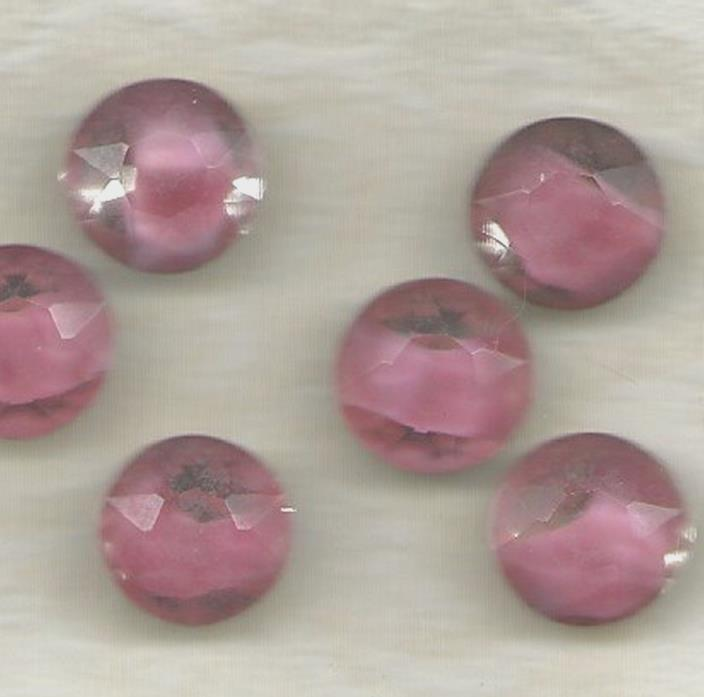 ROSE AND CLEAR  GIVRE VINTAGE GLASS ROUND STONES
