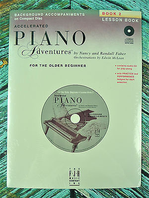New! Faber ACCELERATED PIANO ADVENTURES BOOK 2 LESSON BOOK CD Accompaniments