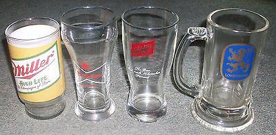4 Vintage Beer Advertising glasses Miller, Budweiser, Schlutz & Lowenbrau