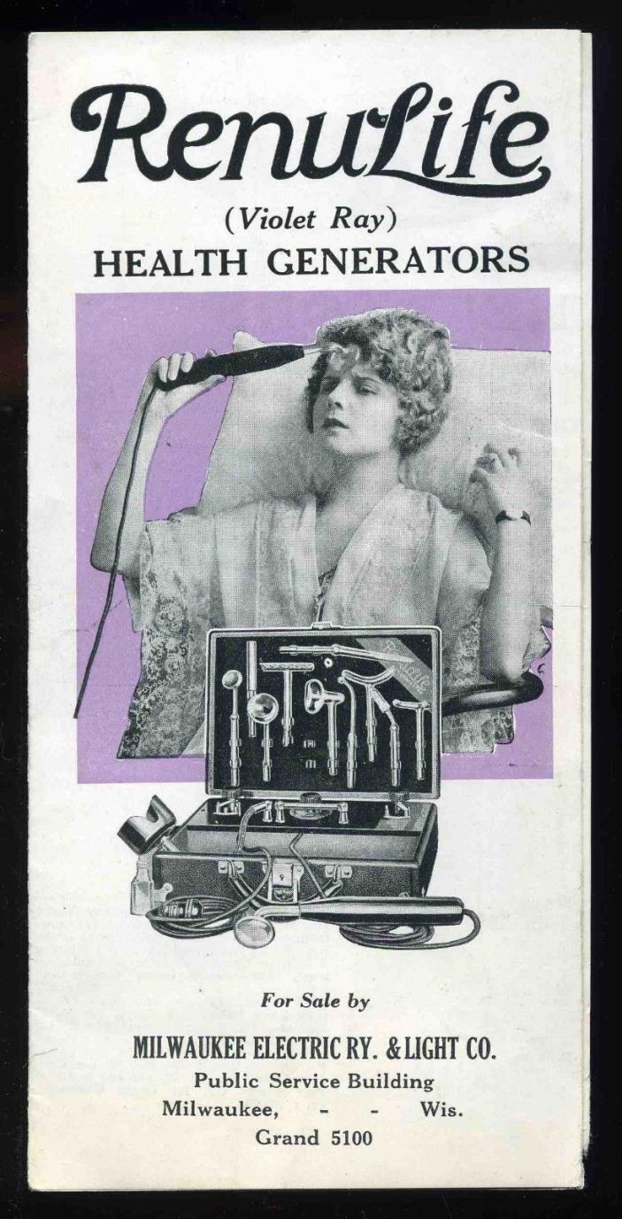 Vintage 1924 Quack Medicine RenuLife Violet Ray Health Generator Sales Brochure