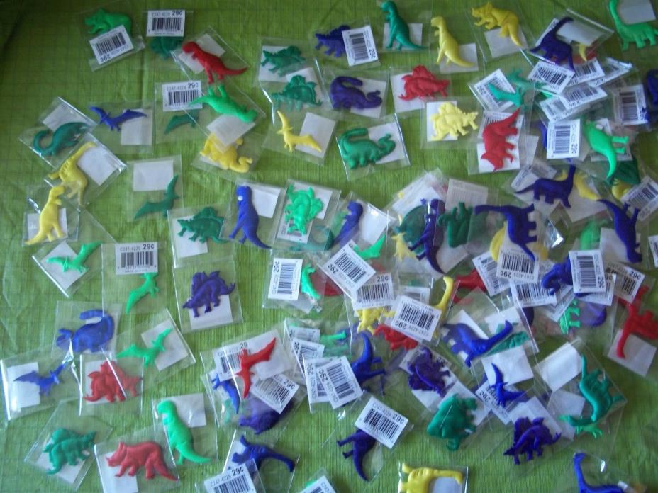Puffy Dinosaurs. Cloth type material filled puffy Crafts Scrapbook Lot 130+