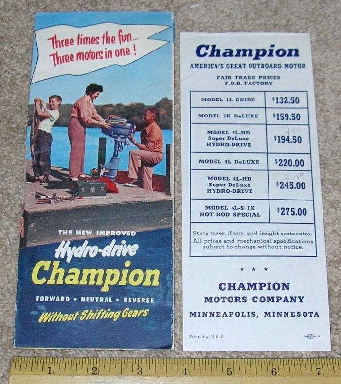Vntg CHAMPION HYDRO-DRIVE Outboard Boat Motor Dealer Sales Brochure + Price List