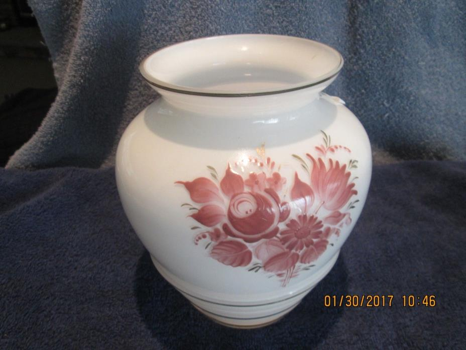 Flowered White Glass Vase Made in Germany