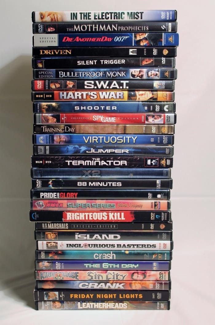 Lot of 28 DVDs Action Suspense Shooter SWAT Crash 88 Minutes Spy Game X2 Mothman