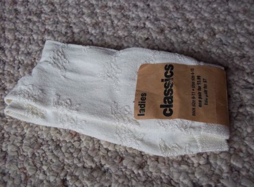 Nylon Socks NWT Ivory Floral Embroidered Vintage Socks Brand New Made in USA