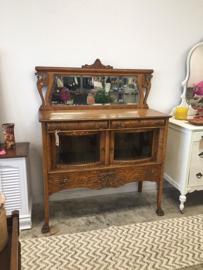 Antique Oak Wood Tiger Sideboard/Buffet/Server