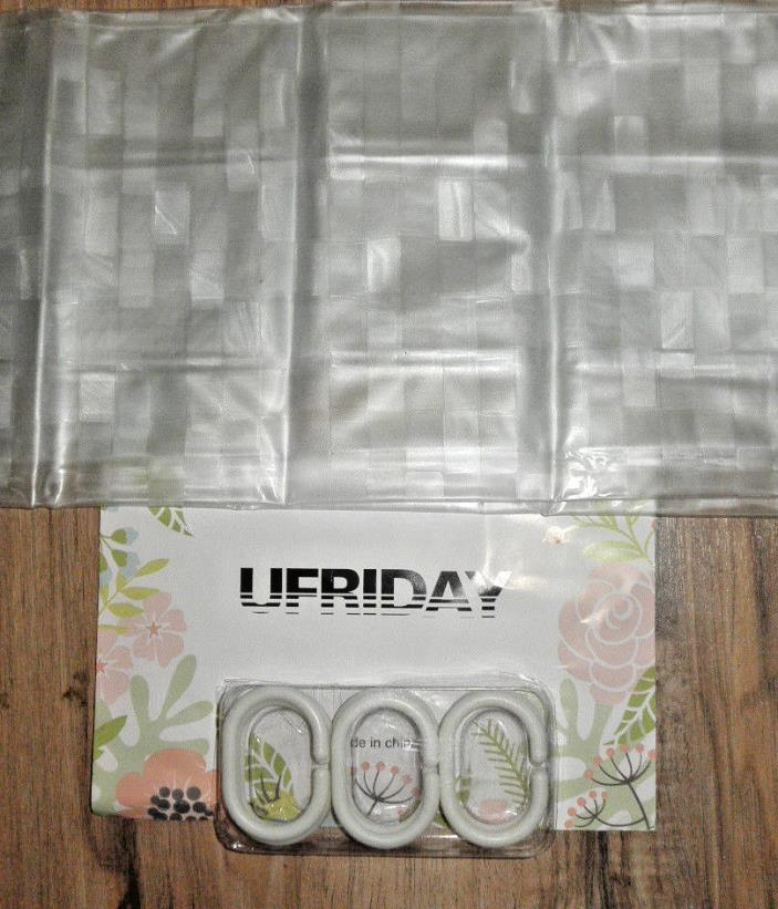 Ufriday Glitter Cube Pattern Plastic Shower Curtains Waterproof with Rustproof .