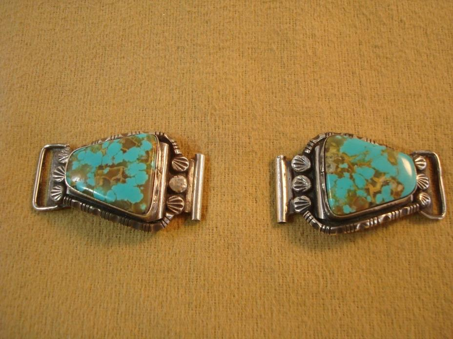 Vtg Native American Signed CLAW Turquoise Sterling Silver WATCH TIPS