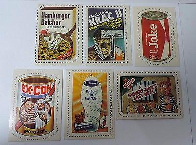 1979 Fleer Crazy Labels Stickers