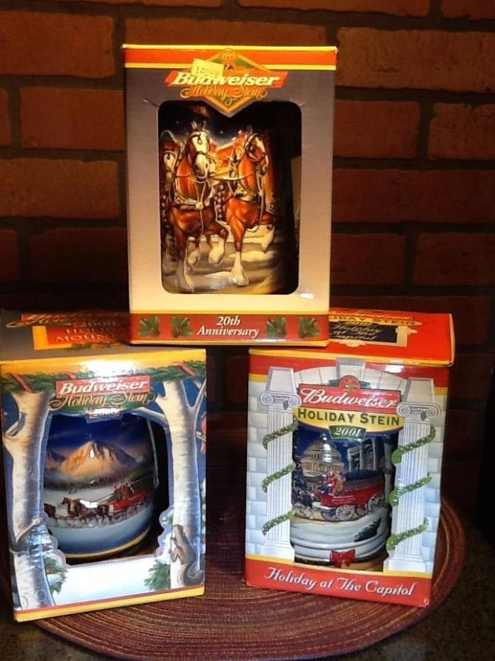 Budweiser Holiday Beer Stein Lot  1999, 2000, 2001! WITH BOXES!!