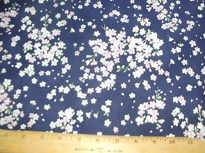 Floral Quilt Fabric Pink Cherry Blossom Flowers Purple Plum BTY