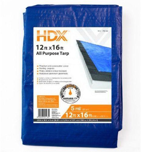 General Purpose Tarp Reusable Thick 12 foot x 16 foot Water Tear Resistant
