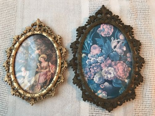 Pair Antique Ornate Oval Brass Italy Convex Bubble Glass Flower Victorian Frame