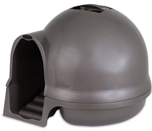 Petmate Booda Dome Cleanstep Cat Box, Brushed Nickel