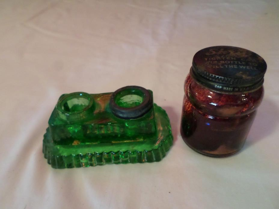 Vintage Green Glass Inkwell & Sheaffer's Skrip Ink Bottle Red Ink Glass Bottle