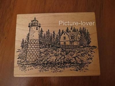 LYTB Nautical Beach House Bridge Leading to LIGHTHOUSE SCENE trees Rubber Stamp