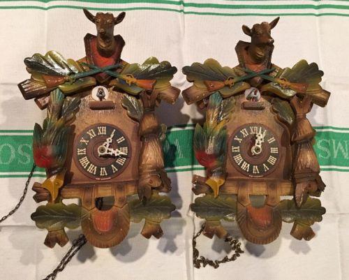 2 Small German Black Forest Hunter Motif Deer Cuckoo Clock For Parts Or Repair