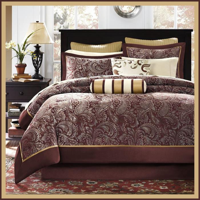 King Size Burgundy 12pc Comforter Set Fitted Flat Sheets Shams Pillows Bedskirt
