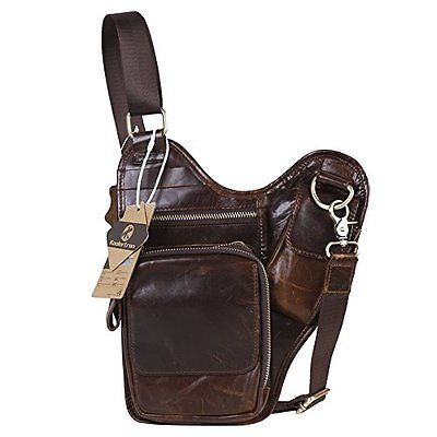Koolertron Camping Hiking Fashion Men's Vintage Genuine Leather Satchel Chest