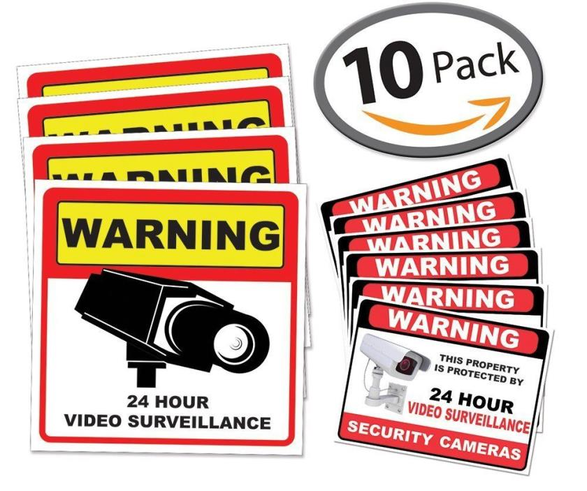 Video Surveillance Sticker Sign Decal 10 Pack Robbery Theft Prevention Alarm