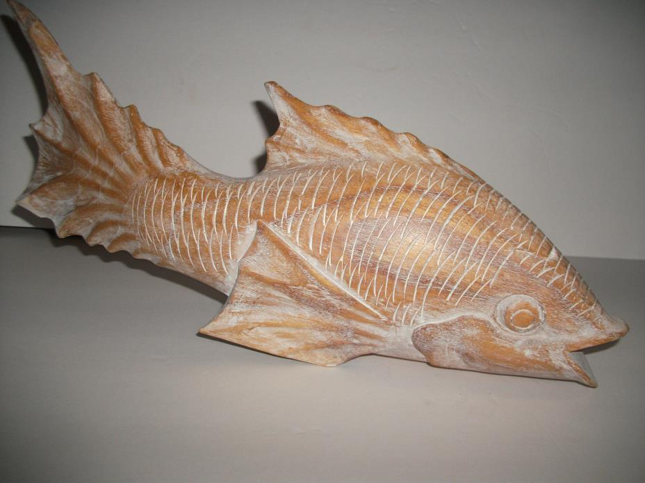 VINTAGE HAND CARVED OUT OF WOOD A JAPANESE KOI CARP FIGURINE