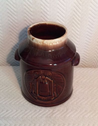 VTG Brown Drip MCCOY MILK CAN 1976 Bicentennial Pottery 7019 Collectible *No Lid