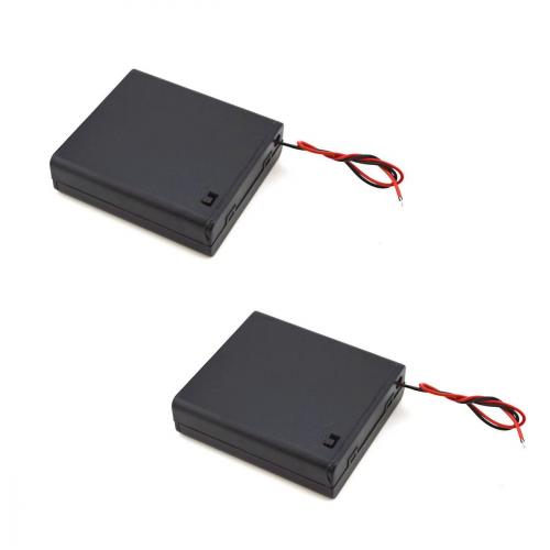 URBEST 4Pcs Wire Leads Plastic Black Battery Case Holder Box 4 x AA 6V w Switch
