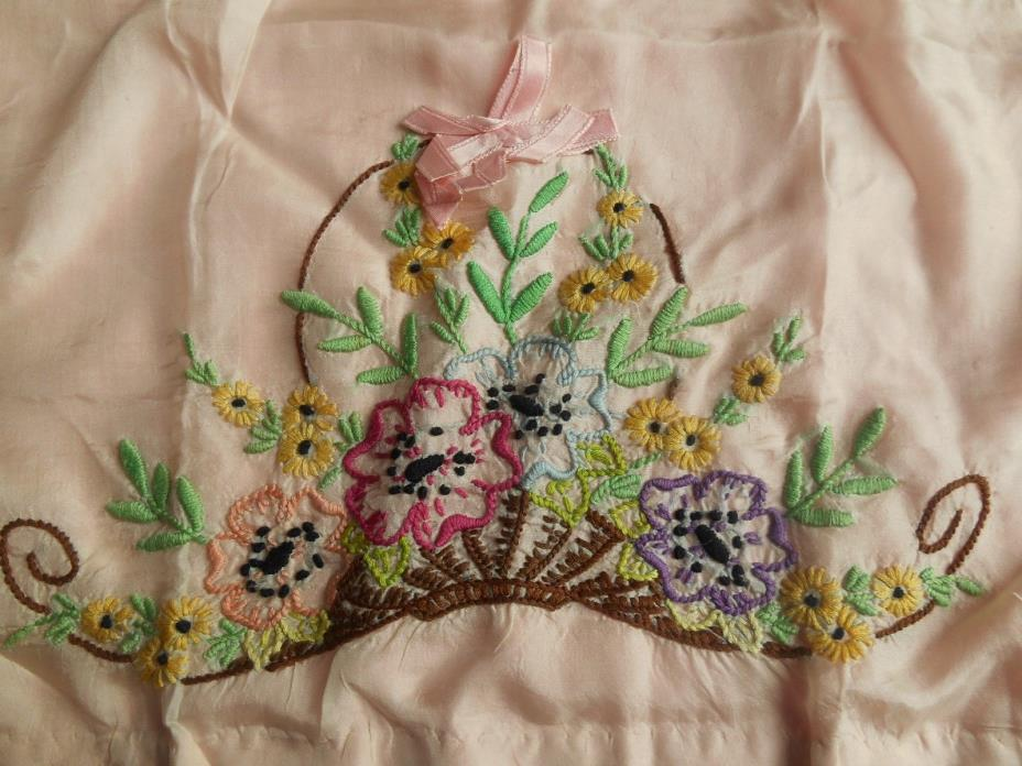 Beautiful Pair of Antique/vintage hand embroidered silk pillowcases
