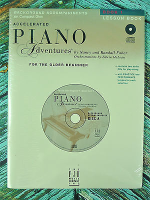 New! Faber ACCELERATED PIANO ADVENTURES BOOK 1 LESSON BOOK CD Accompaniments