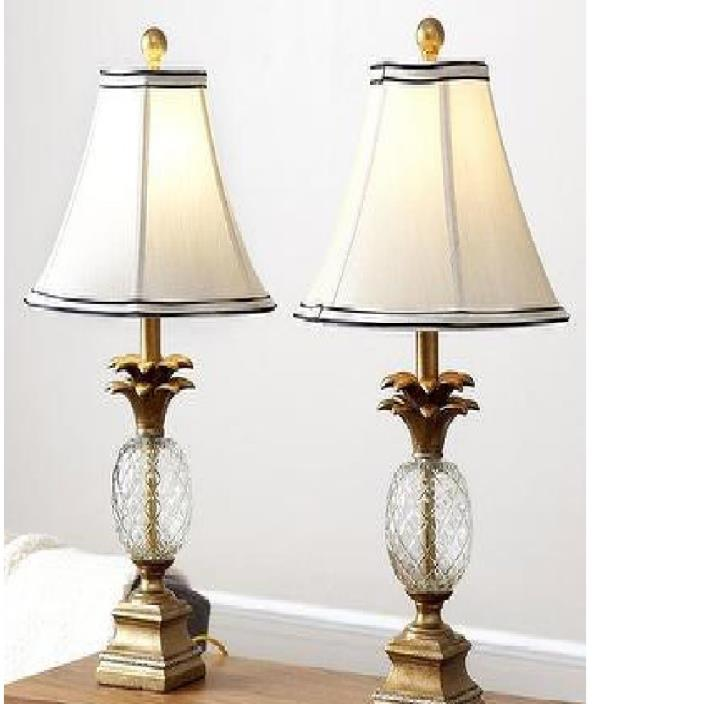 Table Lamps  Antiqued Gold Finish Tone Vintage Mid Century