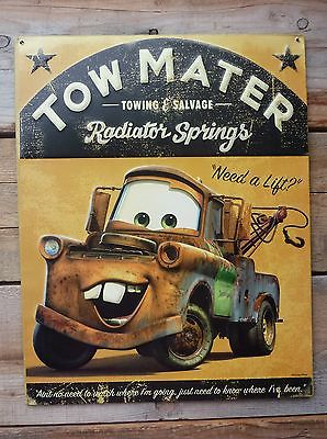 Disney CARS Tow MATER Truck Towing & Salvage Radiator Springs METAL SIGN
