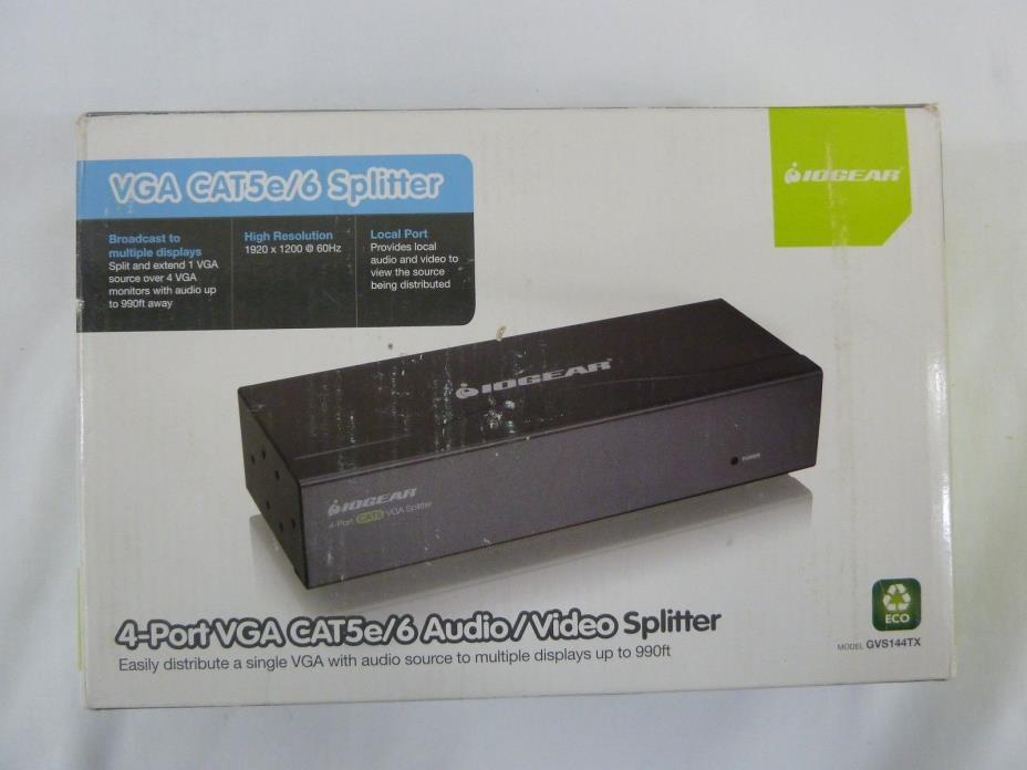 IOGEAR VGA CAT5e/6 Audio/Video Splitter , GVS144TX NEW