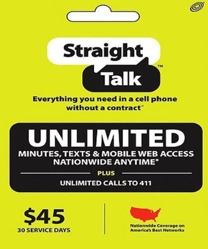 Straight Talk Asif Refill Card 30 Day $45 Prepaid Unlimited Service Top Up FAST