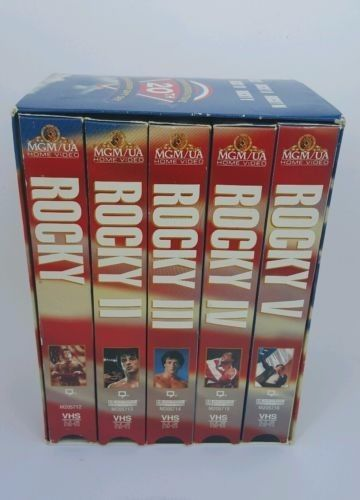 NIB ROCKY, ll, lll, lV, V VHS MOVIES COMMEMORATIVE 20TH ANNIVERSARY GIFT SET