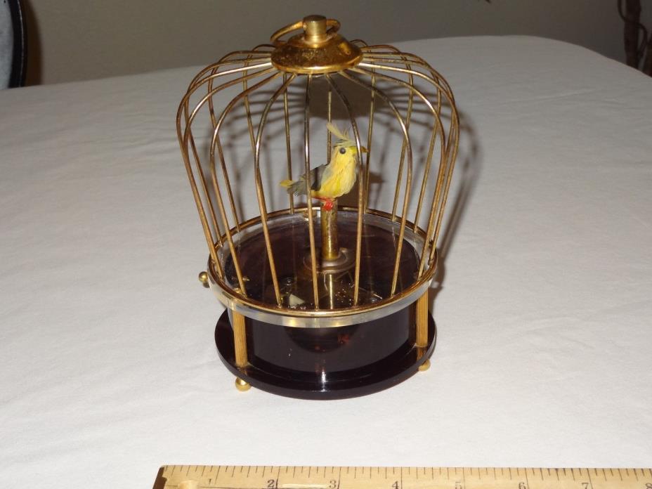 Vintage Animated Singing Yellow Bird Cage Music Box  WACO Japan Movement DEFECT