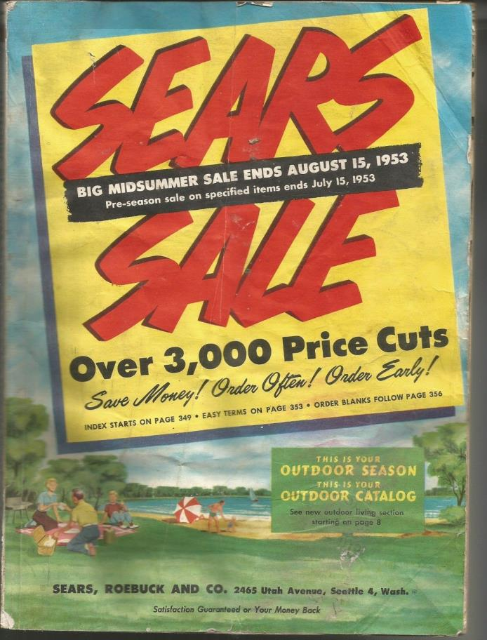 Vintage 1953 Sears Roebuck & Company MIDSUMMER SALE Seattle Washington