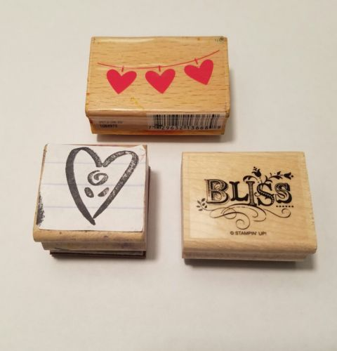 LOT VALENTINE'S DAY Rubber STAMP SET HEART BLISS Wood Mounted C11