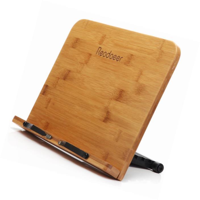 Readaeer BamBoo Reading Rest Cookbook Cook Book Stand Holder Bookrest